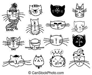 mignon, ensemble, têtes, chat, vecteur, dessiné, main
