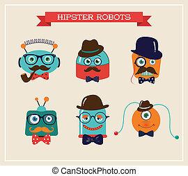mignon, ensemble, têtes, robots, hipster, retro