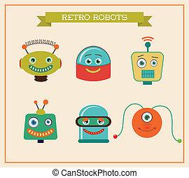 mignon, ensemble, têtes, vendange, robots, retro