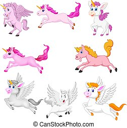 mignon, ensemble, unicorns, isolé, fond, blanc, dessin animé
