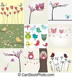 mignon, ensemble, valentines, couples, 9, cartes, oiseaux