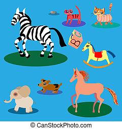 mignon, ensemble, vecteur, dessin animé, animals.