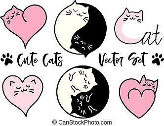 mignon, ensemble, yin, chats, vecteur, yang