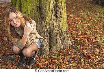 mignon, espace, séance, text., jeune, ou, automne, park., forêt, girl, ton