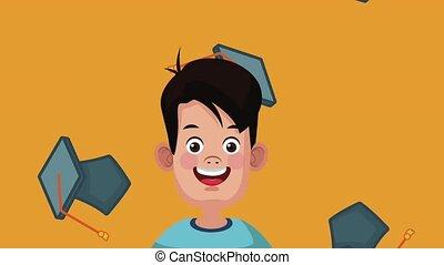 mignon, et, intelligent, étudiant, garçon, hd, animation