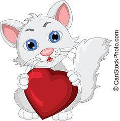 mignon, expression, dessin animé, chat