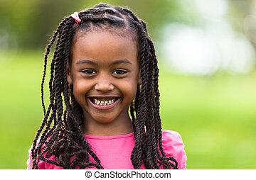 mignon, extérieur, gens, -, haut, jeune, noir, africaine,...