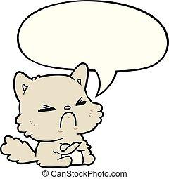 mignon, fâché, chat, bulle discours, dessin animé