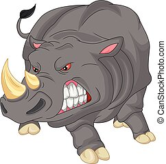 mignon, fâché, dessin animé, rhinocéros