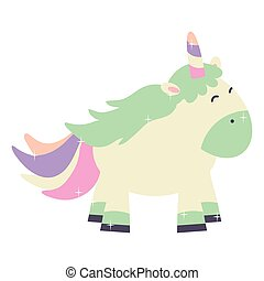 mignon, fée, licorne, adorable, caractère
