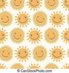 mignon, face soleil, dessiné, sourire, main, dessin animé, heureux