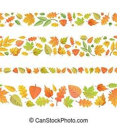 mignon, fait, feuilles, seamless, quatre, automne, frontières, blanc