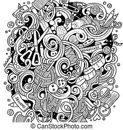 mignon, fait main, illustration, main, doodles, dessiné, dessin animé