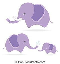 mignon, famille, dessin, éléphant, thaïlande, dessin animé