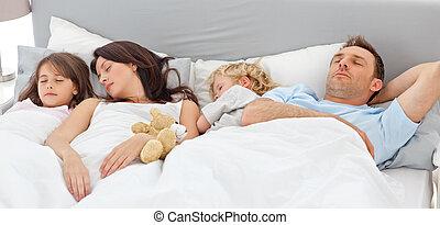 mignon, famille, ensemble, dormir