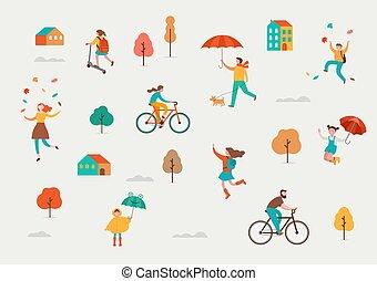 mignon, familles, foule, umbrellas., gens, automne, feuilles, automne, scène, minuscule, jouer, automne, avoir, hommes, sauter, divers, rain., sous, amusement, enfants, femmes