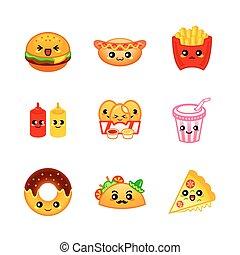 mignon, fast-food, icônes