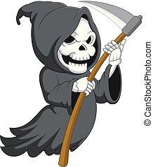 mignon, faux, reaper, sinistre, dessin animé