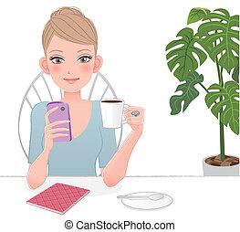 mignon, femme, écran, regarder, téléphone, tenue, ...