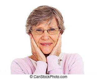 mignon, femme aînée, isolé, blanc