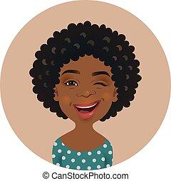 mignon, femme, cligner, expression., a peau noire, figure, espiègle, américain, facial, avatar., girl, afro, africaine, emoticon.
