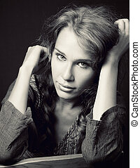 mignon, femme, jeune, sensuelles, portrait
