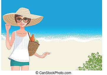 mignon, femme, large, chapeau paille, jeune, sourire, plage, été plein jusqu'au bord
