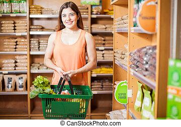 mignon, femme, nourriture, jeune, magasin, achat