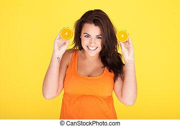 mignon, femme, oranges, effronté, amusement, avoir