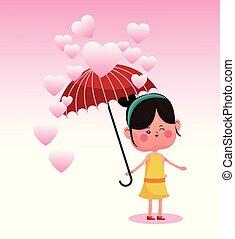mignon, femme, parapluie, dessin animé