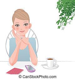 mignon, femme relâche, à, café, à, intelligent, téléphone