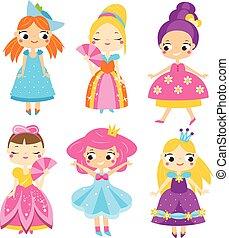 mignon, femme, set., reine, filles, dresses., collection, vecteur, caractères, princesses, dessin animé