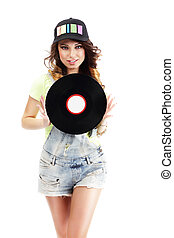 mignon, femme, short, jean, jeune, enregistrement, vinyle, tenue