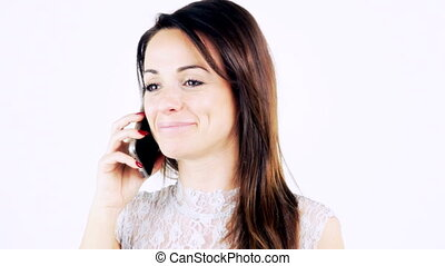 mignon, femme souriante, téléphone