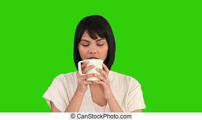mignon, femme, tasse, thé, asiatique, boire