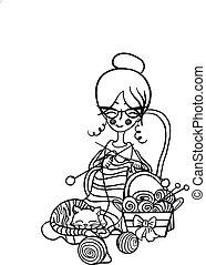 mignon, femme, tricot, elle, sommeils, rayé, chat, balles, dispersé, dessin animé, aiguilles, grand-maman, chaise, assied, sourire, knits, autour de