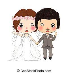 mignon, femme, tuxedo., couple, palefrenier, mariée, wedding., robe, moustache, homme