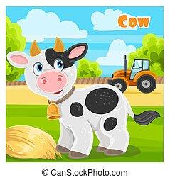 mignon, ferme, vache, dessin animé, fond