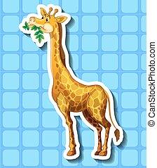 mignon, feuilles, girafe, mastication