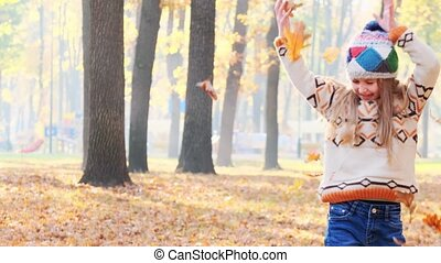 mignon, feuilles, lancement, girl