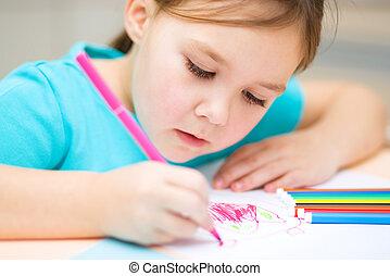 mignon, feutre, gai, stylo, enfant, utilisation, dessin