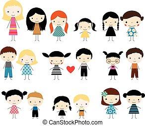 mignon, figures, enfants, crosse