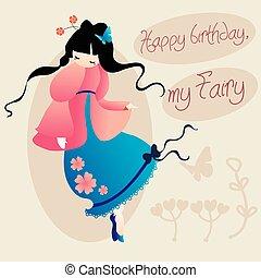 mignon, filles, anniversaire, fairy., mon, carte, heureux