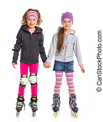 mignon, filles, deux, cylindre patine