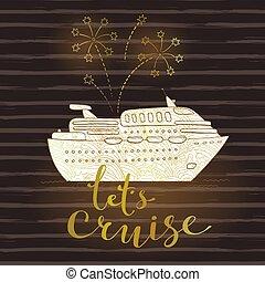 mignon, fireworks., concept, vacances, lune miel, travel., illustration, vecteur, croisière, voyage, bateau, voyage, carte