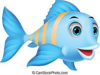 mignon, fish, dessin animé
