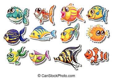 mignon, fish, ensemble, autocollants