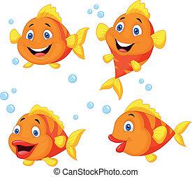 mignon, fish, ensemble, dessin animé, collection