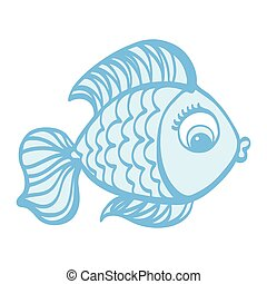 mignon, fish, illustration, main, dessiné, dessin animé