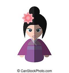 mignon, fleur, chinois, kimono, sakura, girl, ombre